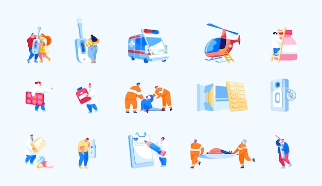 Set van air rescue en medische noodhulp op de grond Premium Vector