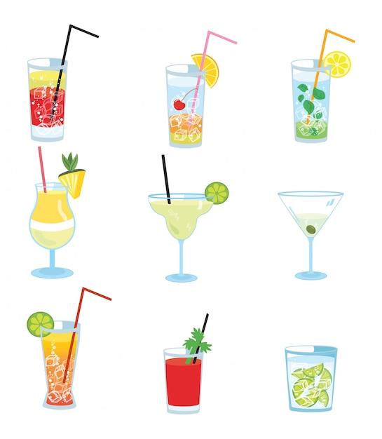 Set van alcoholische cocktails. verzameling van gestileerde koeldranken. Premium Vector
