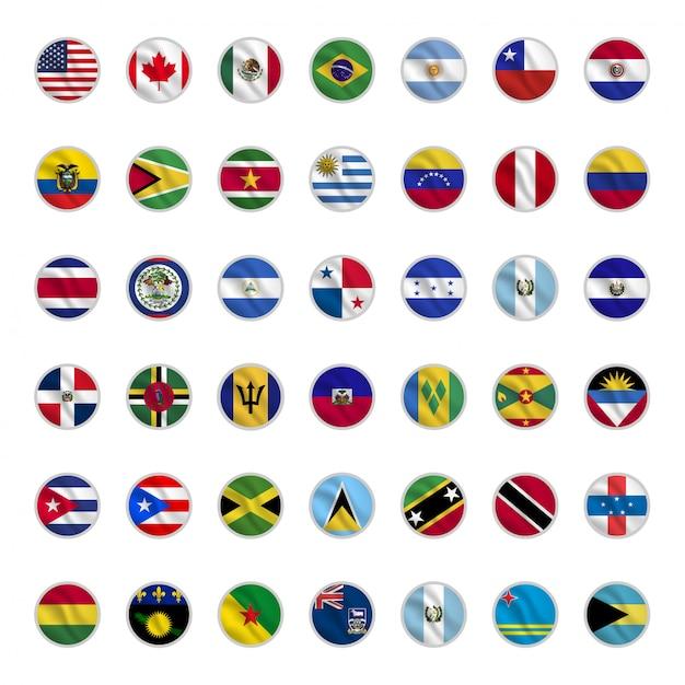 Set van amerikaanse land vlaggen met cirkel vormen wuivende stijl Premium Vector