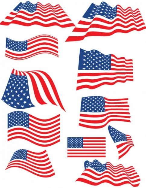 Set van amerikaanse vlaggen met meerdere vormen vector gratis download - Huisstijl amerikaanse ...