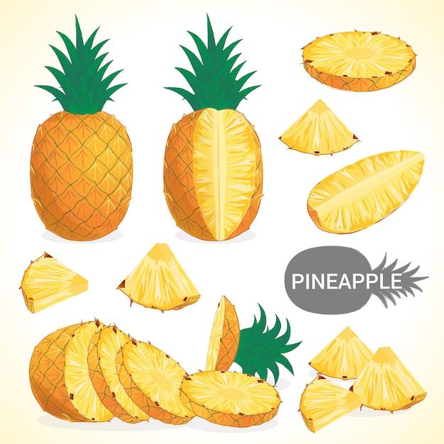 Set van ananas in verschillende stijlen vector-formaat Premium Vector