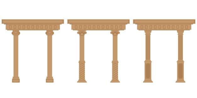 Set van antieke bogen. architectonische objecten in vlakke stijl geïsoleerd op een witte achtergrond. Premium Vector