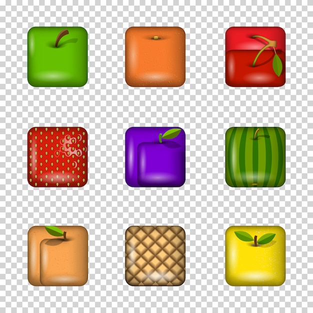 Set van app fruit pictogrammen Premium Vector