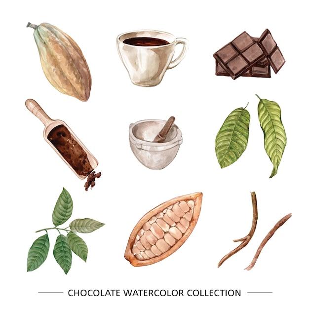 Set van aquarel chocolade illustratie van op witte achtergrond. Gratis Vector