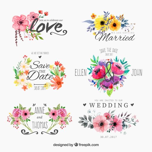 Set van aquarel floweryfor bruiloft Gratis Vector
