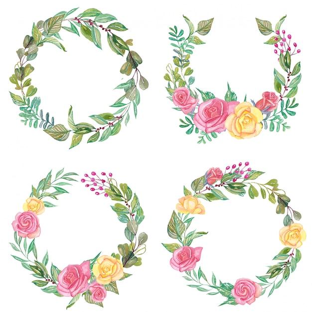 Set van aquarel rose roze en gele bloemen krans Premium Vector
