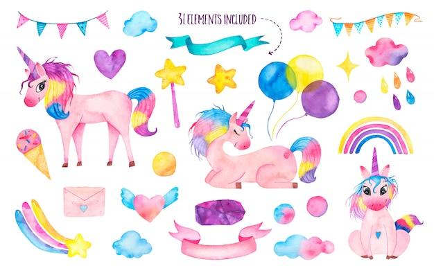 Set van aquarel schattige magische eenhoorns met regenboog, ballonnen, toverstaf Gratis Vector