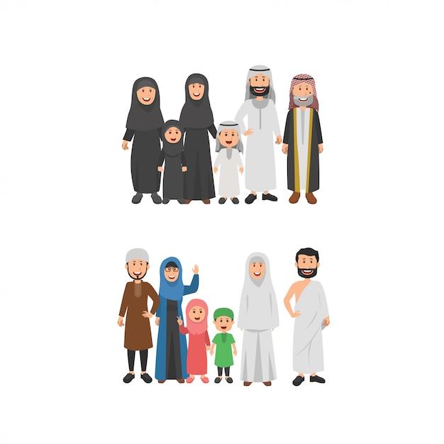 Set van arabische familie illustratie Premium Vector
