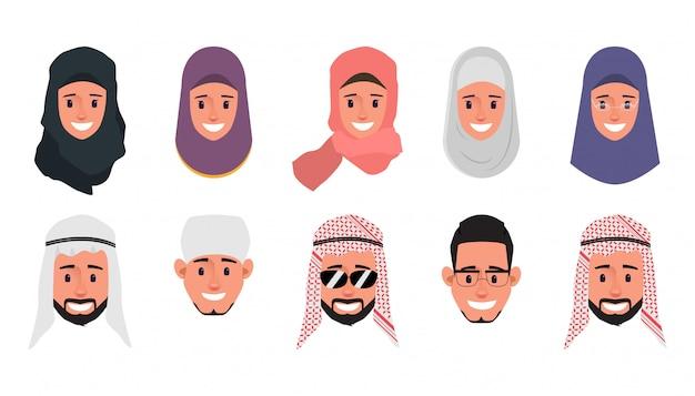 Set van arabische, moslim, emiraten emotie gezicht karakter. Premium Vector