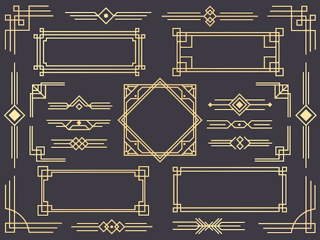 Set van art deco lijnrand, gouden ornamenten, scheidingslijnen en frames in gatsby-stijl Premium Vector