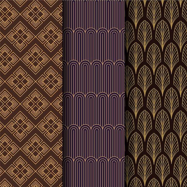 Set van art deco naadloze patroon Premium Vector