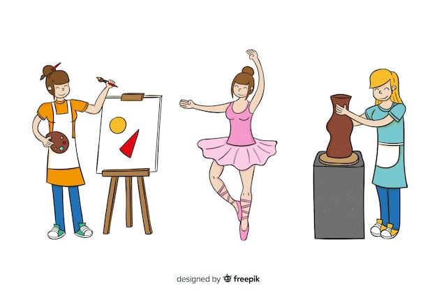 Set van artiesten uit verschillende disciplines. schilder, beeldhouwer en danser Gratis Vector