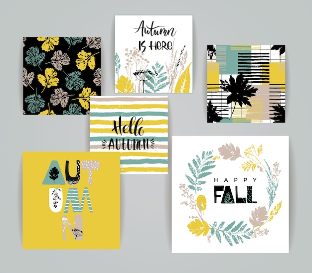 Set van artistieke creatieve herfst kaarten. Premium Vector