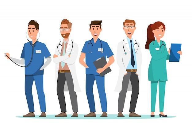 Set van arts en verpleegkundige stripfiguren Premium Vector