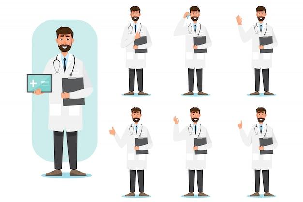 Set van arts stripfiguren. medisch personeel team concept in het ziekenhuis. Premium Vector