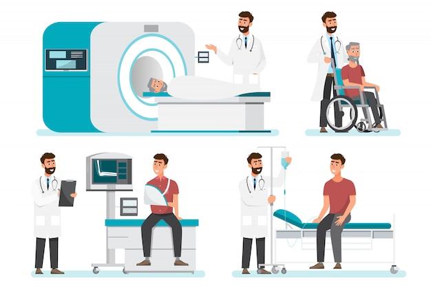 Set van arts stripfiguren. medisch personeelsteam in het ziekenhuis. Premium Vector
