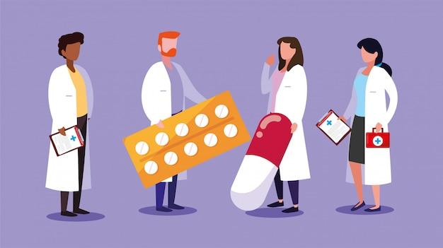 Set van artsen met ehbo-kit Premium Vector