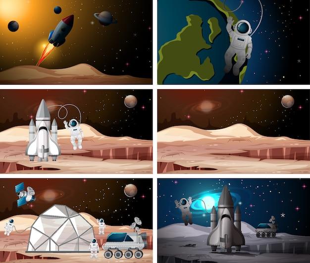 Set van astronaut scènes Premium Vector