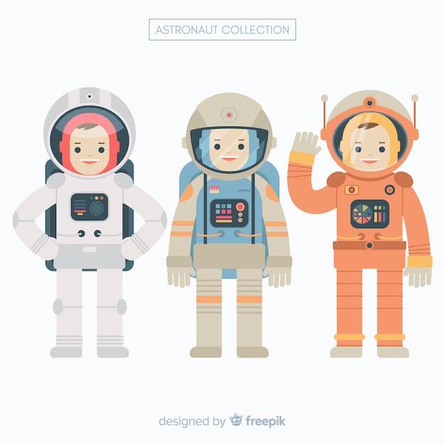 Set van astronauten in plat ontwerp Gratis Vector
