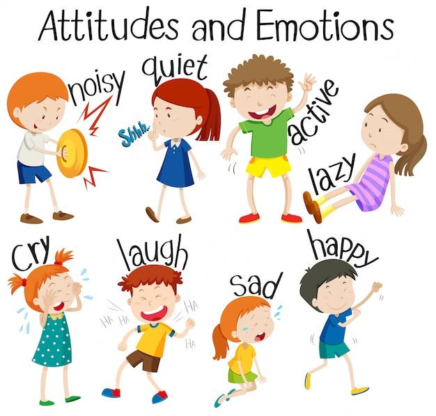Set van attitudes en emoties Premium Vector