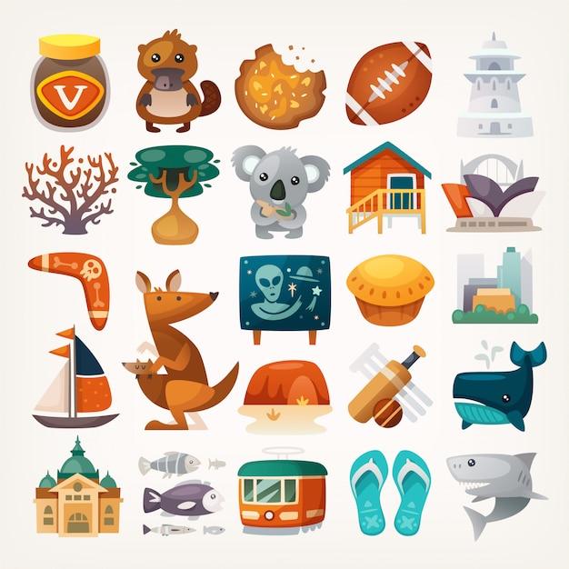 Set van australische reispictogrammen. symbolen van het continent. verschillende bezienswaardigheden en beroemde elementen uit alle delen van het eiland. Premium Vector