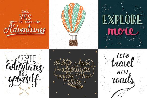 Set van avontuur en reizen hand getrokken typografie Premium Vector