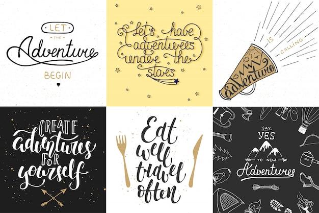Set van avontuur en reizen typografie Premium Vector
