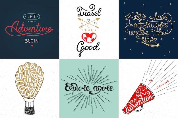 Set van avontuur en reizen vector typografie Premium Vector