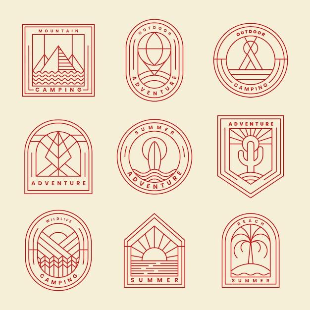 Set van avontuur logo vector Gratis Vector
