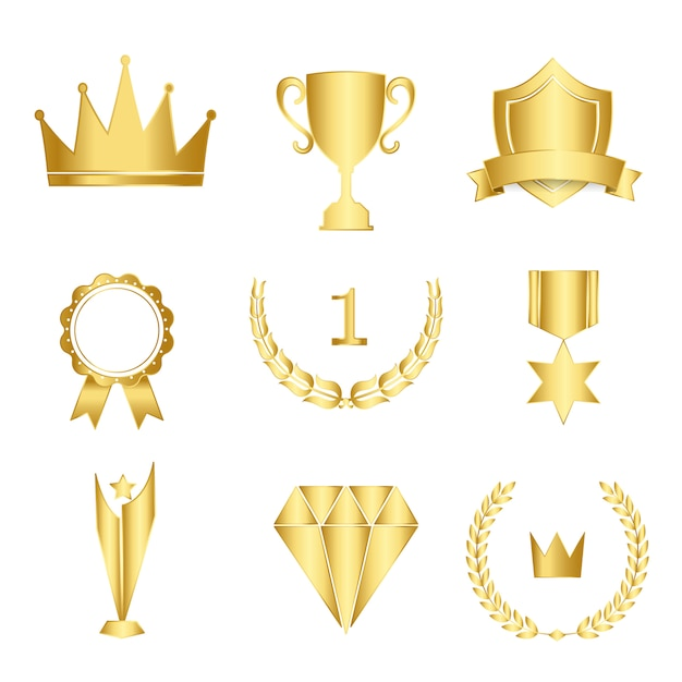Set van awards en badges vector Gratis Vector