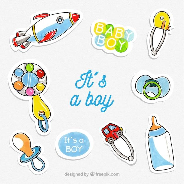 99391a0fd4d1dd Set van baby stickers met speelgoed en kleding Vector | Gratis Download