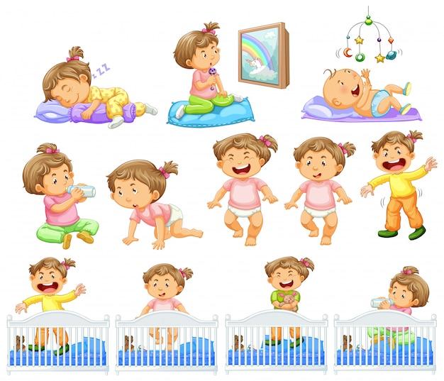 Set van babymeisje dat verschillende activiteiten doet Gratis Vector