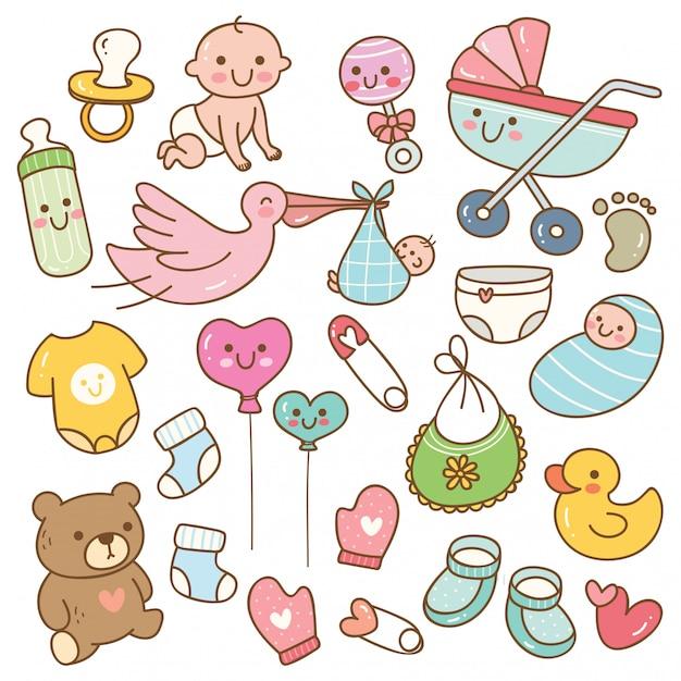 Set van babyspeelgoed en accessoires in kawaiistijl Premium Vector