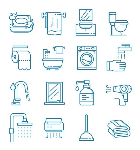 Set van badkamer pictogrammen met kaderstijl Premium Vector
