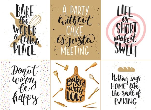 Set van bakkerij belettering posters, wenskaarten, decoratie, prints. hand getrokken typografie ontwerpelementen. Premium Vector