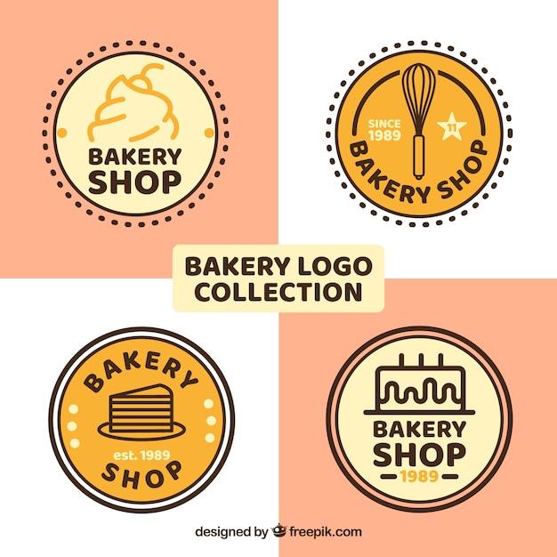 Set van bakkerij logo's in vlakke stijl Gratis Vector