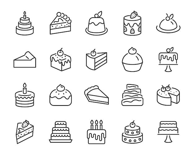 Set van bakkerij pictogrammen, zoals cake, fluitje van een cent, cheesecake, chocoladetaart, bruidstaart Premium Vector