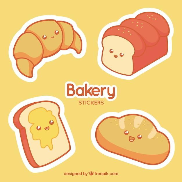 Set van bakkerij stickers met gebak en brood Gratis Vector