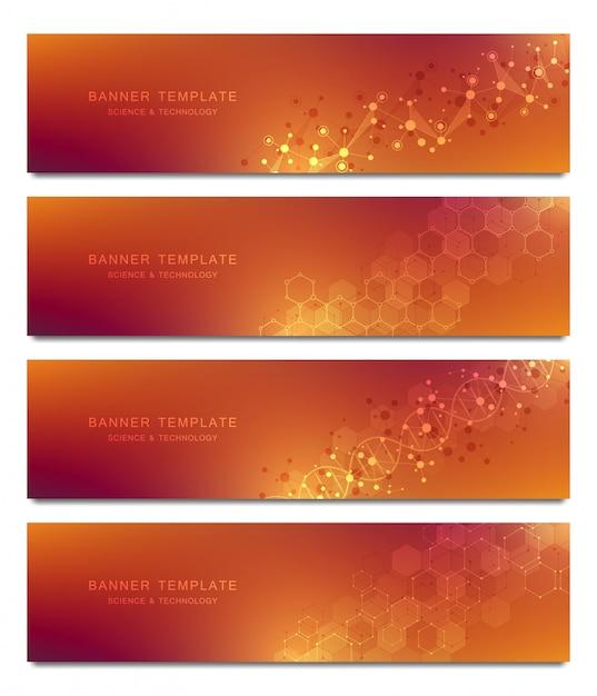 Set van banners en headers voor site met moleculen achtergrond en neuraal netwerk Premium Vector