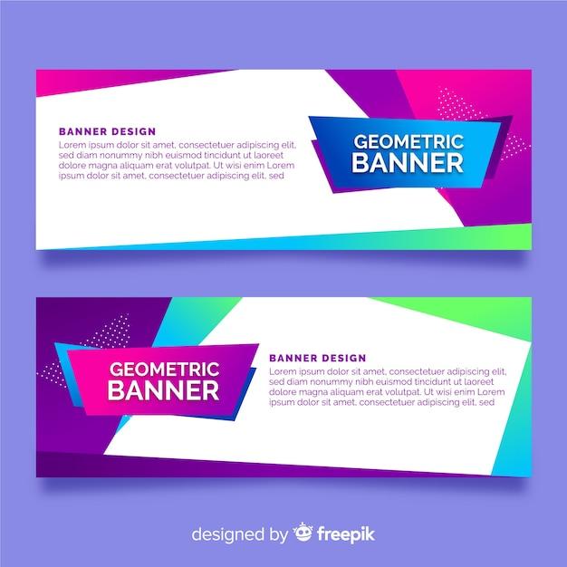 Set van banners met abstracte geometrische vormen Gratis Vector
