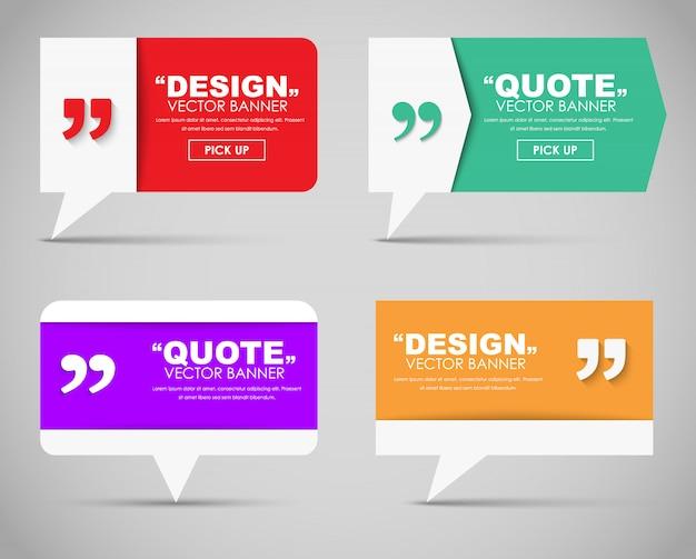 Set van banners met een citaat-zeepbel Premium Vector