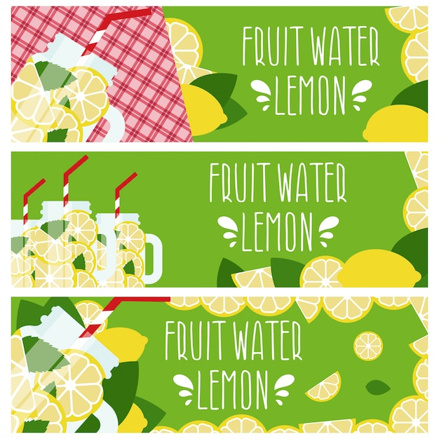 Set van banners met helder fruit water in mason jar met citroenen. Premium Vector