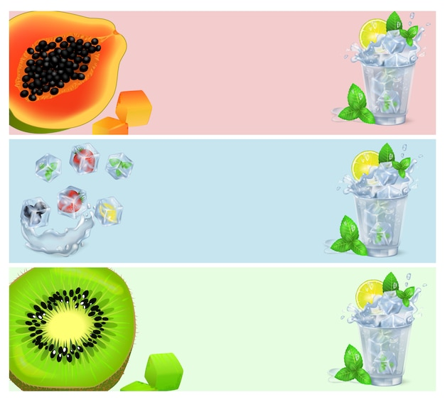 Set van banners met tropisch fruit in ijsblokjes en cocktails Premium Vector