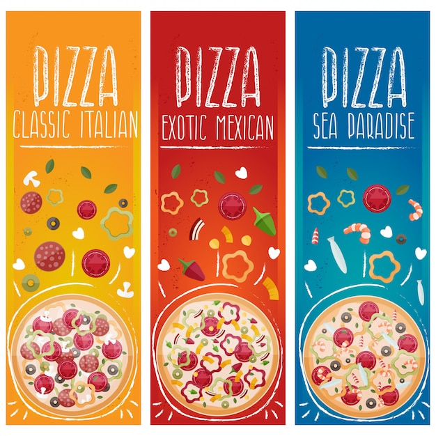 Set van banners voor thema pizza met verschillende smaken platte ontwerp Premium Vector