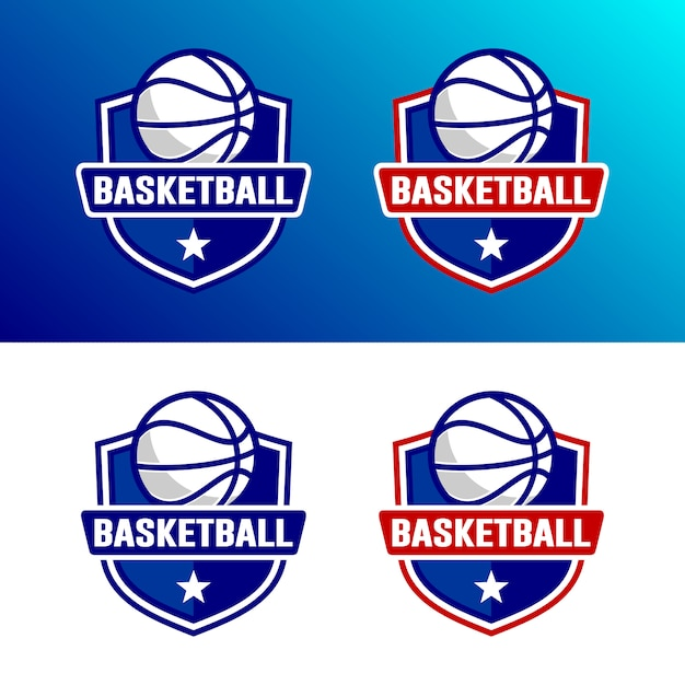 Set van basketbal logo sjabloon Premium Vector