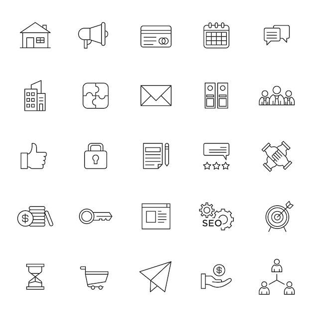 Set van bedrijfsbeheer pictogram Premium Vector