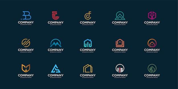 Set van bedrijfslogo-collectie met modern concept voor constructie, technologie, veiligheid en persoonlijk Premium Vector