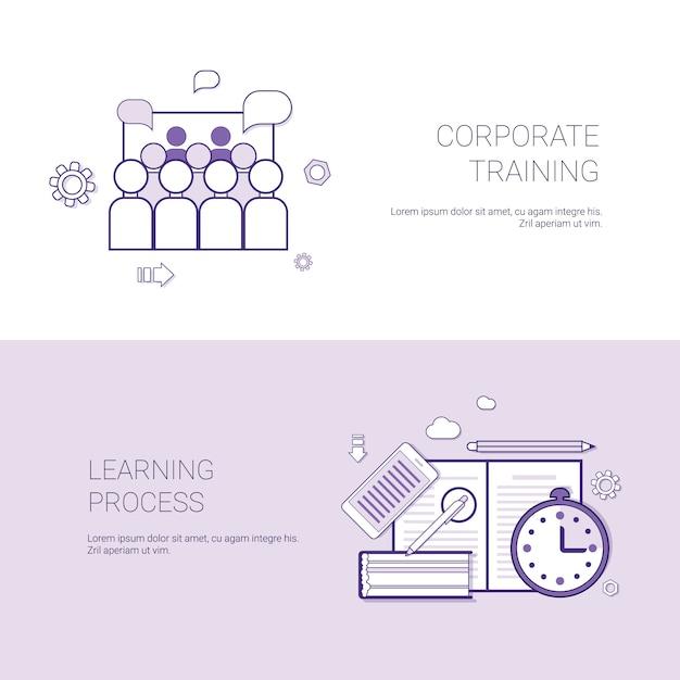 Set van bedrijfsopleidingen en leren procesbanners bedrijfsconceptenmalplaatje Premium Vector