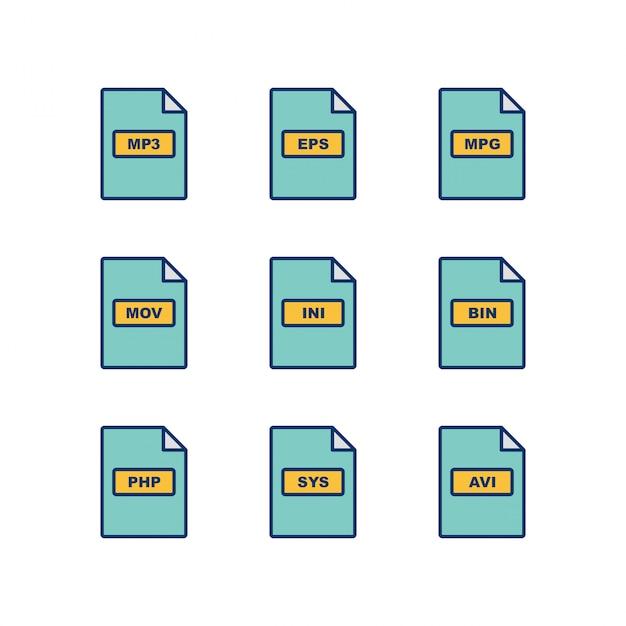 Set van bestandsindelingen pictogrammen geïsoleerd op een witte achtergrond Premium Vector