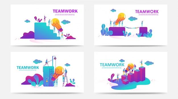 Set van bestemmingspagina en webpagina met teamwerkconcept. creatieve vectorillustratie van zakelijke grafische mensen, zoeken naar nieuwe ideeën. gebruik voor seo, web design, ui development, zakelijke app. - vector Premium Vector